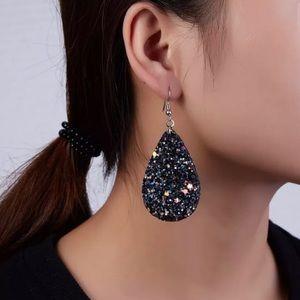 Jewelry - Sparkle Glitter Teardrop Earrings Black Leather